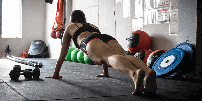 woman in plank position