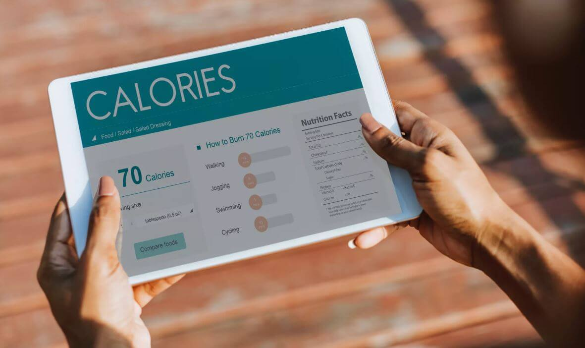 tablet device showing calories